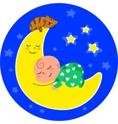 Cute baby asleep on the moon vector image vector image