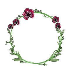 Drawing floral wreath flowers decoration vector
