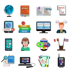 Multilanguage Translator Colorful Flat Icon Set vector image