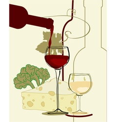 red wine band glass of wine with cheese vector image vector image