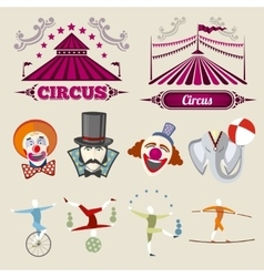 Vintage hipster circus set in flat style vector image vector image