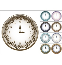 Wall clock decorated with ornate pattern vector image vector image