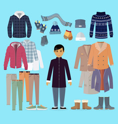 boy in warm clothes stands in centre on blue vector image