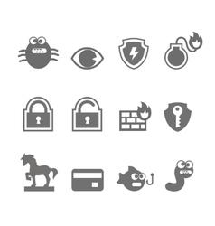 Computer criminal icons vector