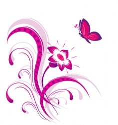 flower pattern with butterfly vector image vector image