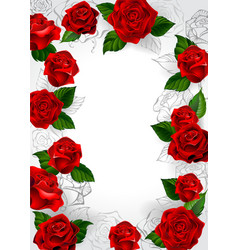 Frame of red roses vector