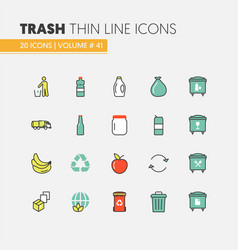 garbage waste recycling linear thin line icons vector image vector image