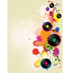 abstract colored background with vinyl and musical vector image vector image