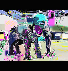 abstract memphis digital painting of indian vector image vector image