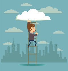 businessman climbing on ladder to cloud vector image