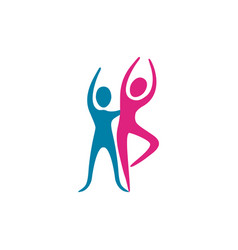 color people couple dancing icon vector image vector image