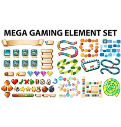 Game elements and template vector image