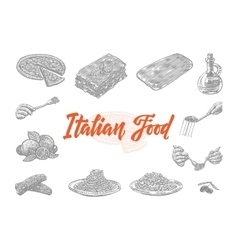 Hand Drawn Italian Food Icons Set vector image