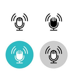 Podcast icon set Black studio table microphone vector image vector image