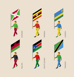 set of isometric 3d people with flags of africa vector image vector image