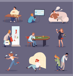 addicted persons problem lifestyle drugged people vector image