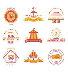 Amusement park emblems set vector