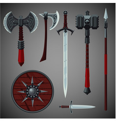 Antique edged weapons collection game design set vector