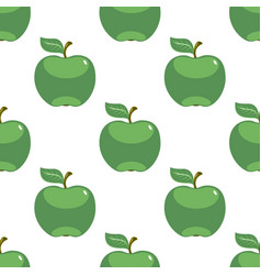 apple green white seamless pattern background vector image