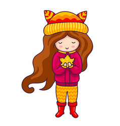 autumn girl hand drawn little girl with maple vector image