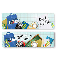 back to school banners with supplies tols and vector image