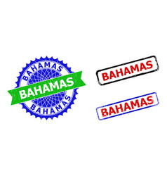 Bahamas rosette and rectangle bicolor watermarks vector
