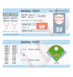 baseball ticket modern design baseball ball bat vector image