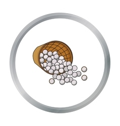 Basket with golf balls icon in cartoon style vector