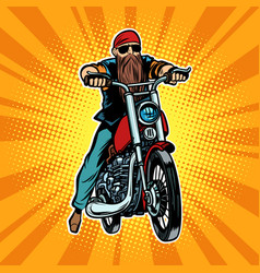 biker bearded man on a motorcycle vector image