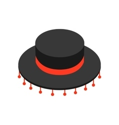 Black sombrero hat icon isometric 3d style vector image
