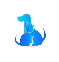 Blue cat and dog pet clinic icon vector