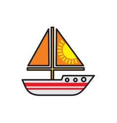 Boat color outline icon on white background for vector