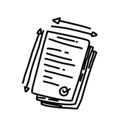 business license hand drawn icon design outline vector image