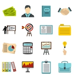 Business strategy icons set flat style vector