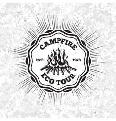 Campfire eco tour label with flaming fire on vector