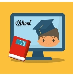 cartoon boy red book computer school vector image