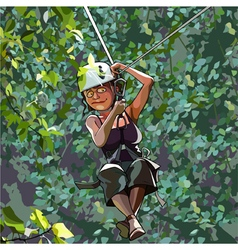 Cartoon frightened woman in a helmet on a rope vector