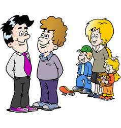 Cartoon of a family man and a businessman vector