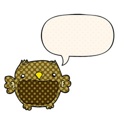 Cartoon owl and speech bubble in comic book style vector