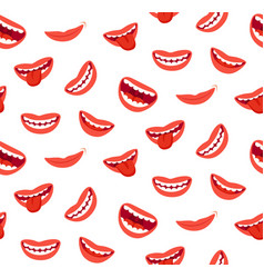 cartoon smiling lips seamless pattern laughing vector image