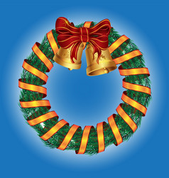 Christmas wreath pine with bells and ribbon vector