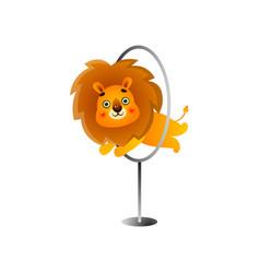 Circus gold lion jump through metal circle vector