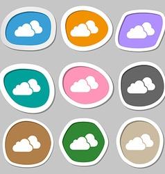 clouds symbols Multicolored paper stickers vector image