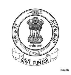 Coat arms punjab is a indian region emblem vector