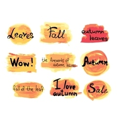 Collection of hand drawn autumn labels on vector