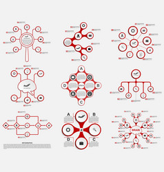 Collection red infographics design elements vector