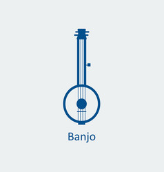colored banjo icon silhouette icon vector image