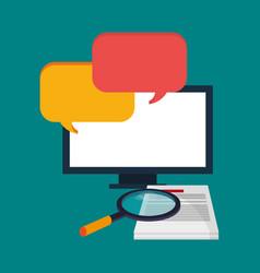 Computer digital document search bubble speech vector