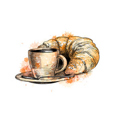 cup of coffee and a croissant vector image