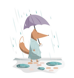 Cute and handsome fox walking with umbrella vector